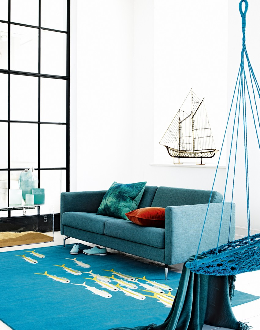 modern teal living room simple ways to work the coastal look in your home 13754