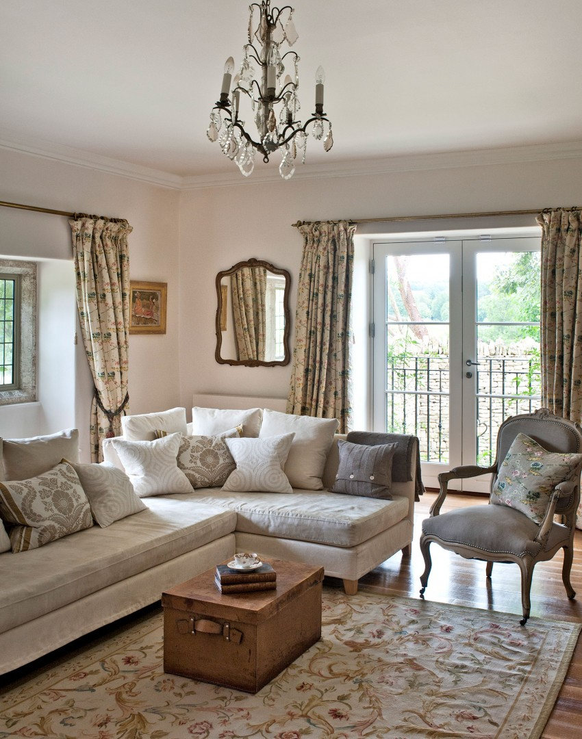 Neutral Traditional Living Room With Log Fireplace: Wander Through This Idyllic 18th-century Farmhouse In