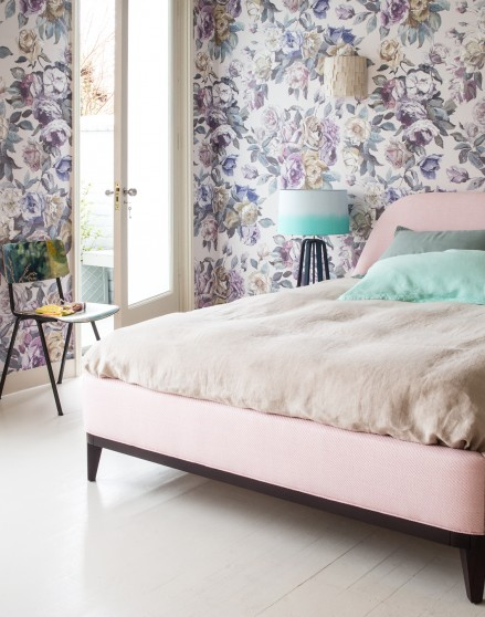 Modern Bedroom With Powdery Pastel Bed And Large Scale